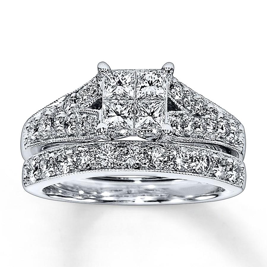 Jared Diamond Bridal Set 1 1 2 ct tw 14K White Gold