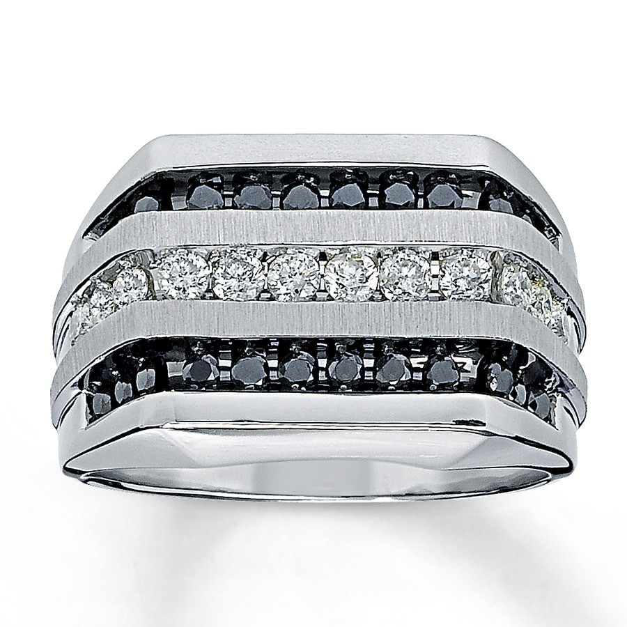 Jared Mens Black Diamond Ring 1 ct tw Roundcut 14K White Gold