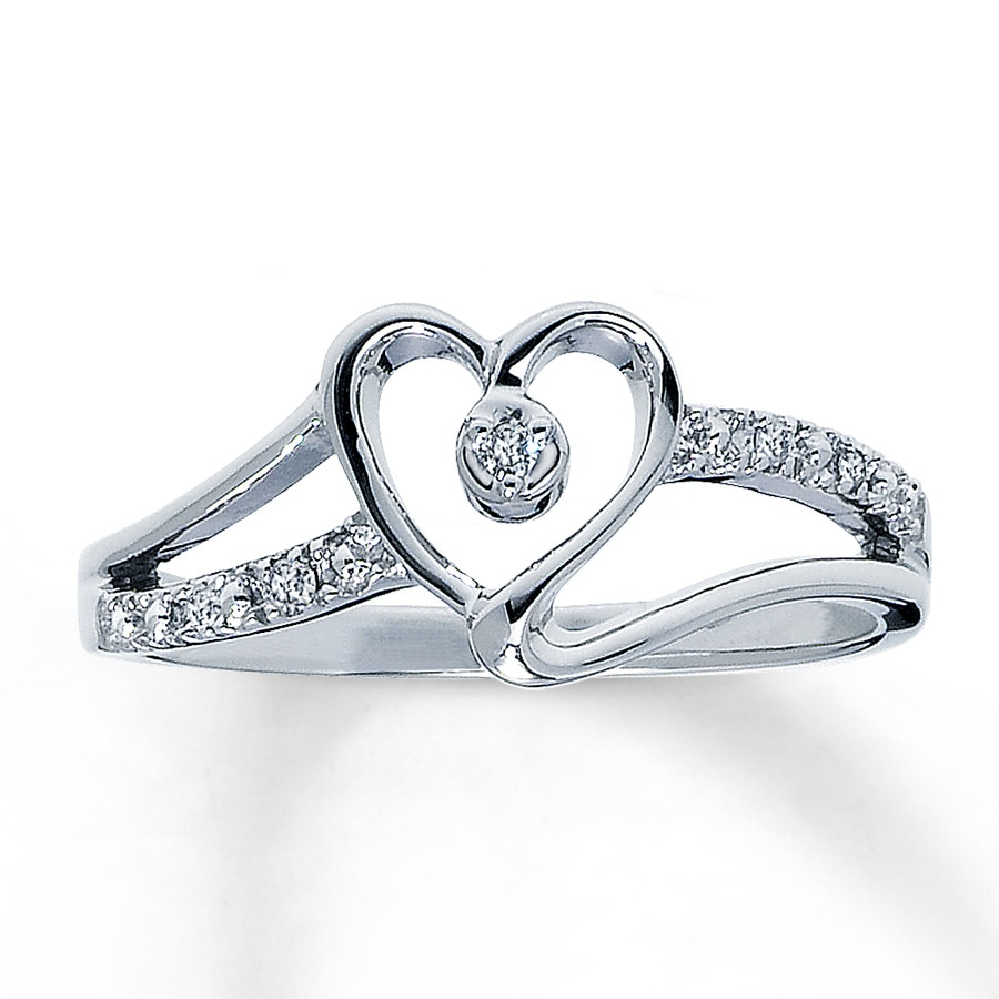 Jared Diamond Promise Ring Round Cut 10K White Gold