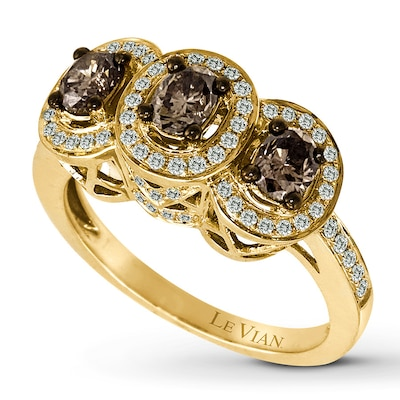 Jared LeVian Chocolate Diamonds 1-1/4 carat tw Ring 14K Honey Gold- Designers
