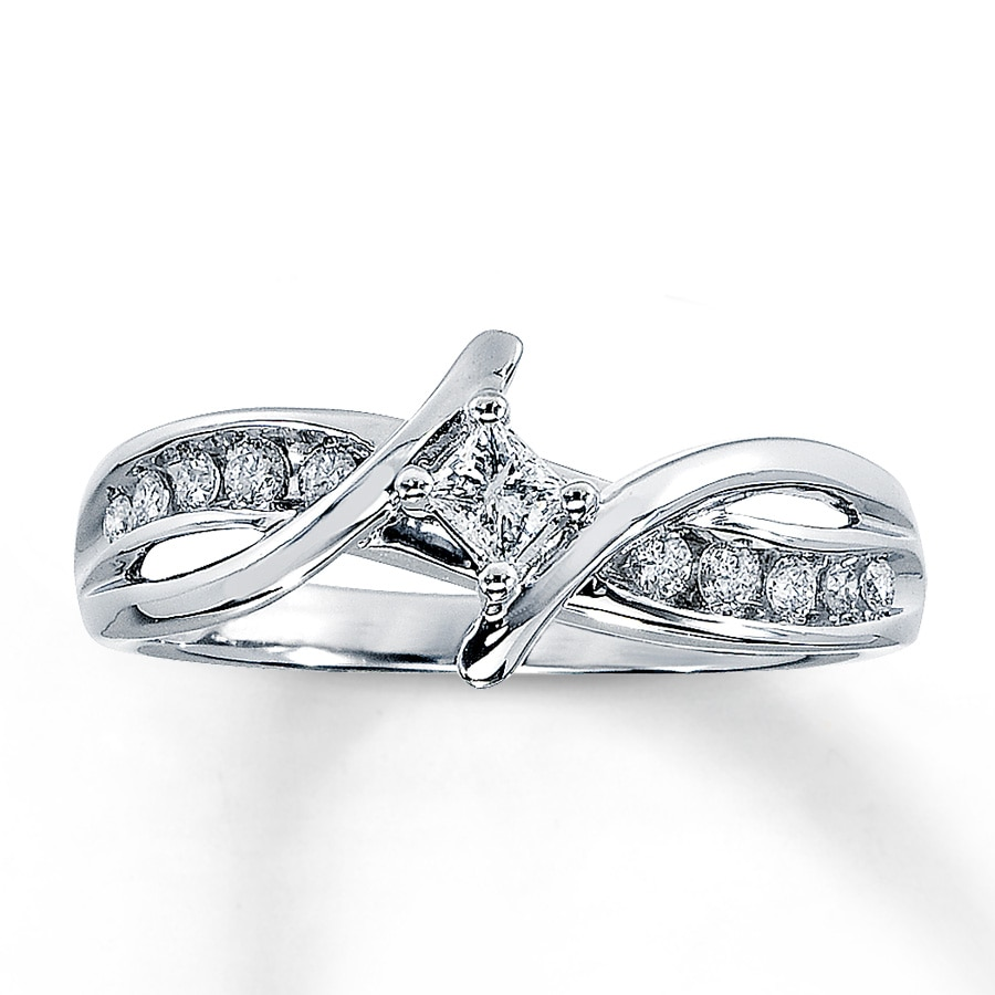Jared Diamond Promise Ring 1 4 Carat tw 10K White Gold