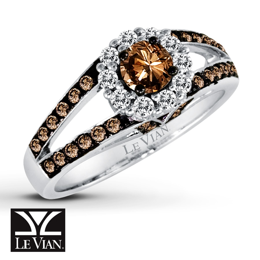 Jared LeVian Chocolate Diamonds 78 ct tw Ring 14K Vanilla Gold