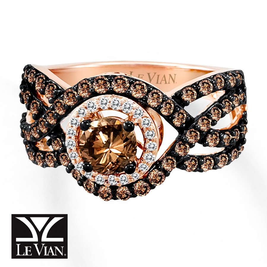 Jared LeVian Chocolate Diamonds 1 12 cts tw Ring 14K Strawberry Gold