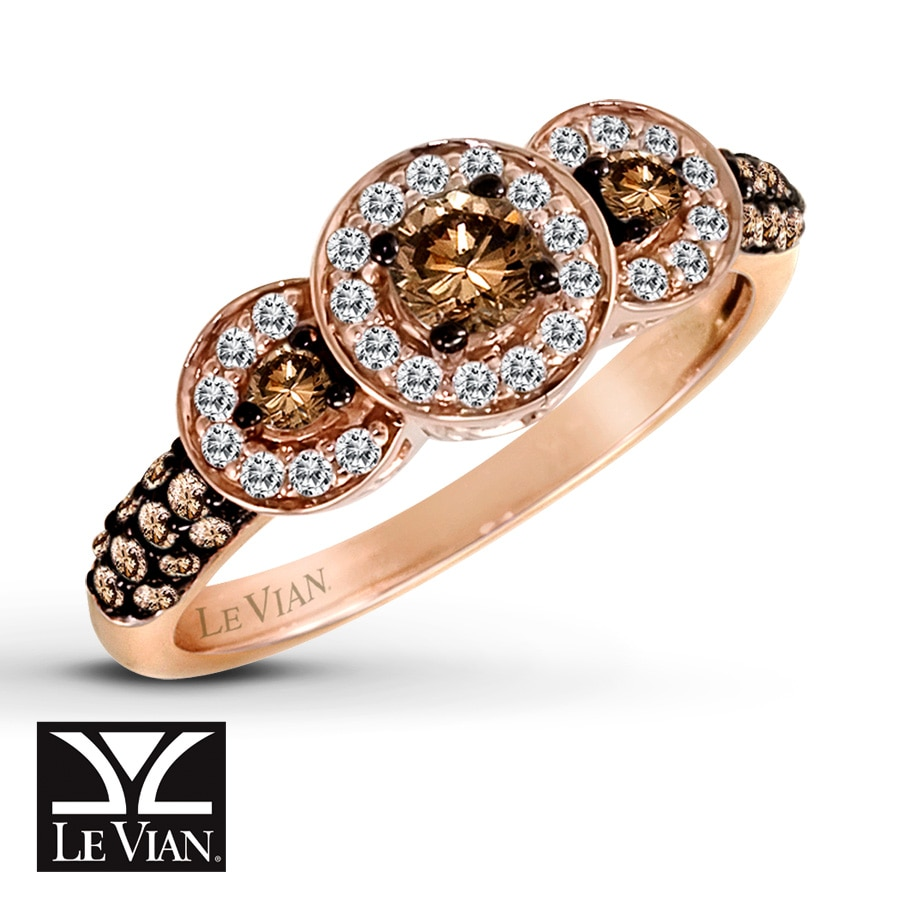 Jared LeVian Chocolate Diamonds 58 ct tw Ring 14K Strawberry Gold