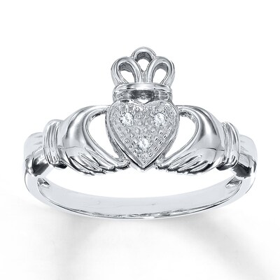 Diamond Claddagh Ring Diamond Accents 10K White Gold
