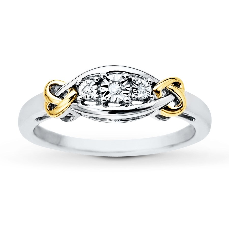 Jared Diamond Ring Diamond Accents Sterling Silver 10K Gold