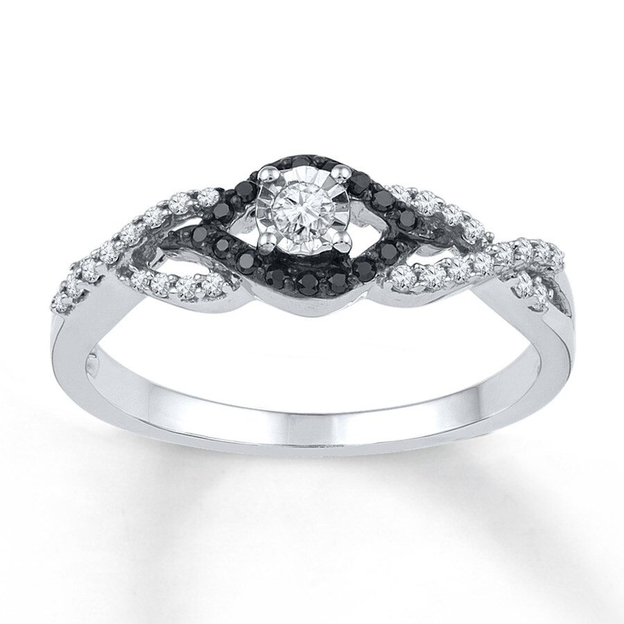 Jared Black White Diamonds 1 5 ct tw Promise Ring Sterling Silver