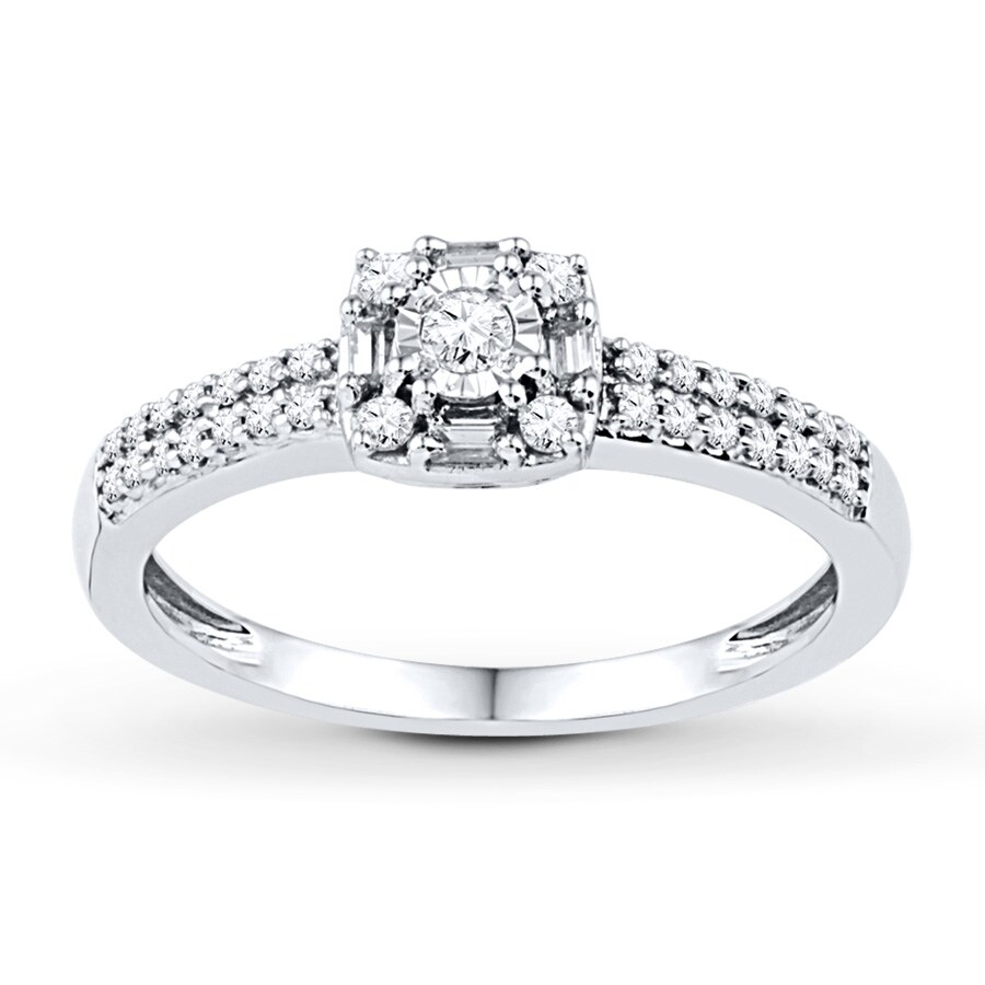 Jared Diamond Promise Ring 1 4 ct tw Round Baguette 10K White Gold