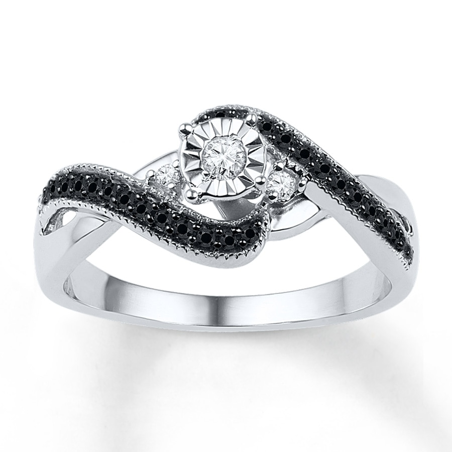 Jared Diamond Promise Ring 1 4 ct tw Black White Sterling Silver