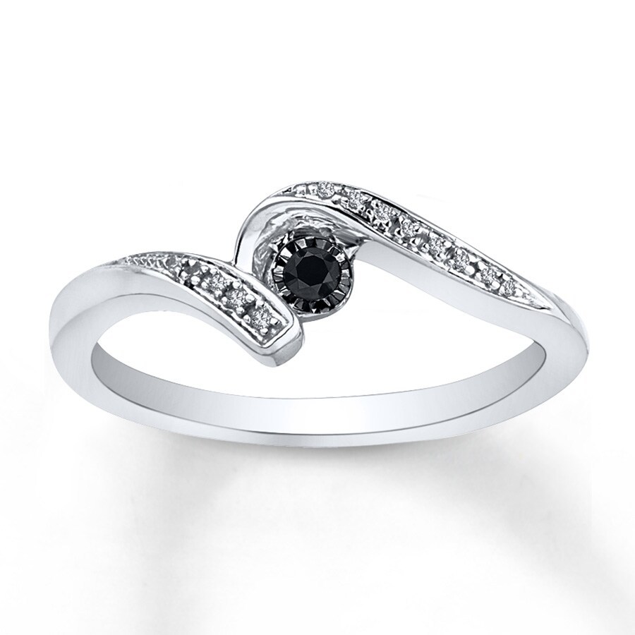 Jared Diamond Promise Ring 1 6 ct tw Black White Sterling Silver