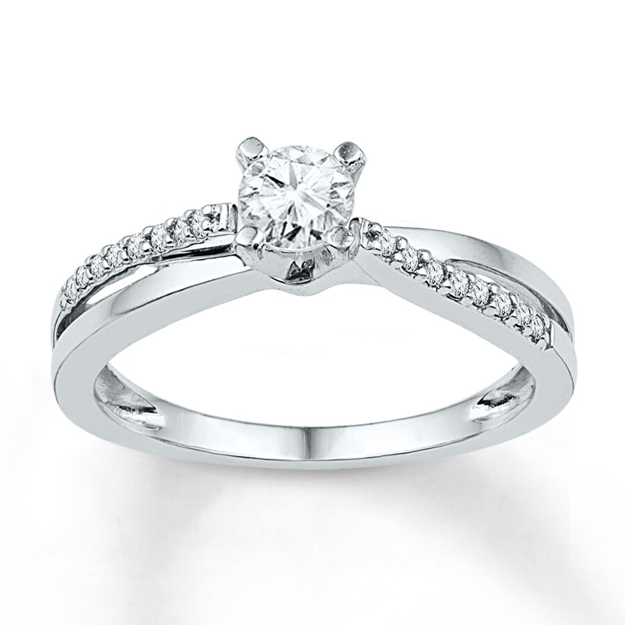 Jared Diamond Promise Ring 1 6 ct tw Round cut 10K White Gold