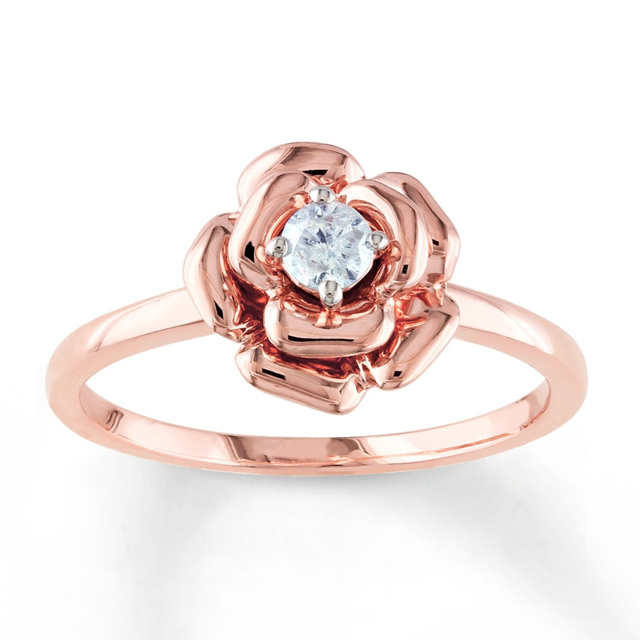 rose wedding rings flower ring 1 8 carat cut 10k gold 7132
