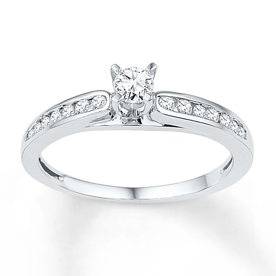 Jared Diamond Promise Ring 1 3 ct tw Round cut 10K White Gold