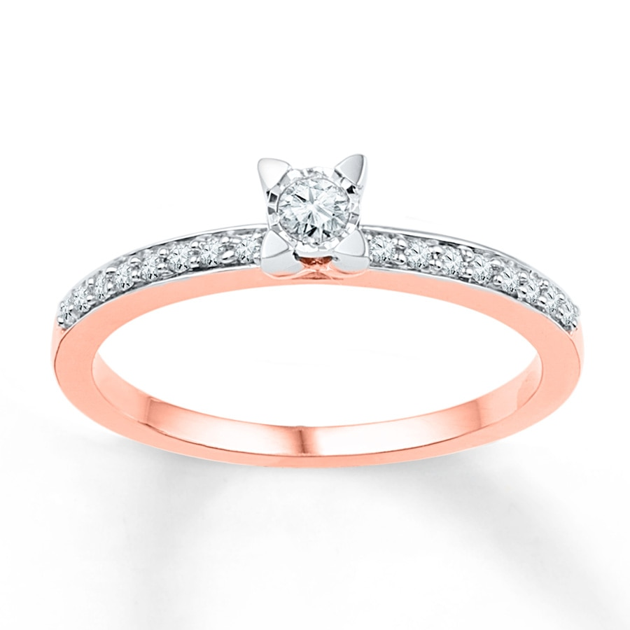 Jared Diamond Promise Ring 1 6 ct tw Round cut 10K Rose Gold