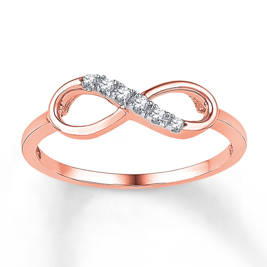Diamond Infinity Ring 1 20 Ct Tw Round Cut 10k Rose Gold