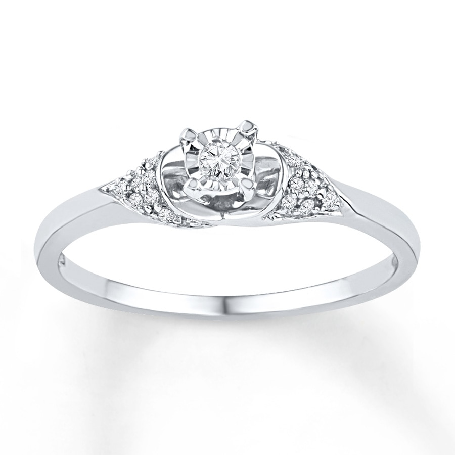 Jared Diamond Promise Ring 1 10 ct tw Round cut 10K White Gold