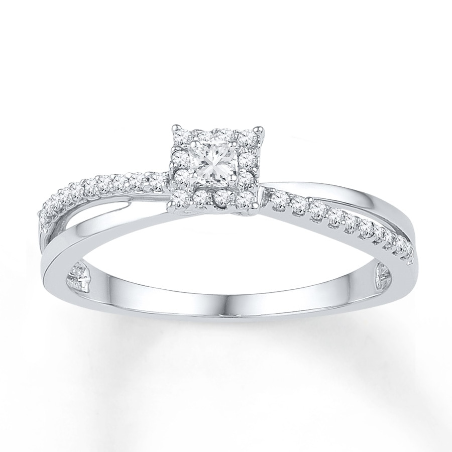 Diamond Promise Ring 1/5 Carat Tw 10K White Gold