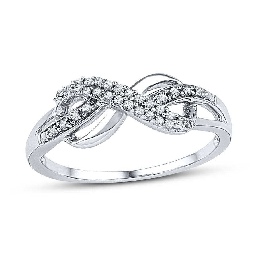diamond infinity ring 1  10 ct tw round-cut sterling silver - 2331590499