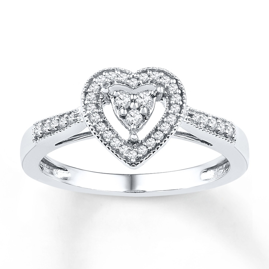 Jared Heart Promise Ring 1 5 ct tw Diamonds Sterling Silver