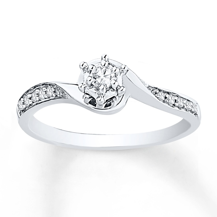 Jared Diamond Promise Ring 1 6 ct tw Round cut Sterling Silver
