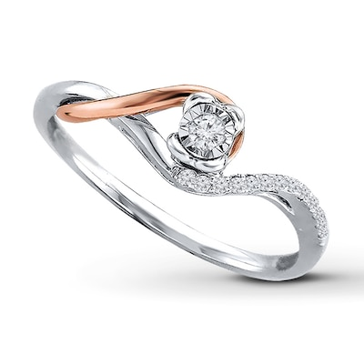 Diamond Ring 1/10 ct tw Sterling Silver/10K Rose Gold