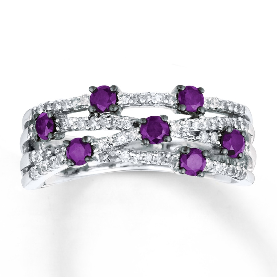 with beautiful silver diamantbilds sterling rings amethyst engagement diamond accents ring purple kay prices