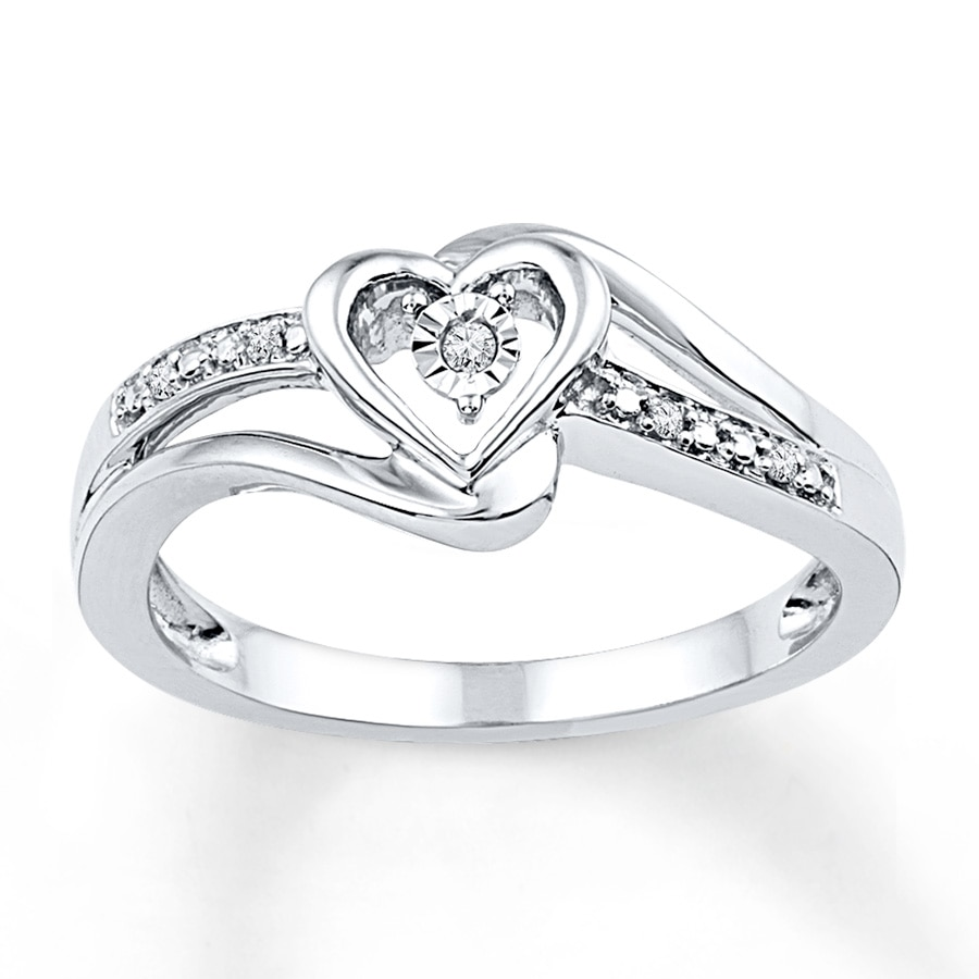 Fabulous Jared - Heart Promise Ring Diamond Accents Sterling Silver LO82
