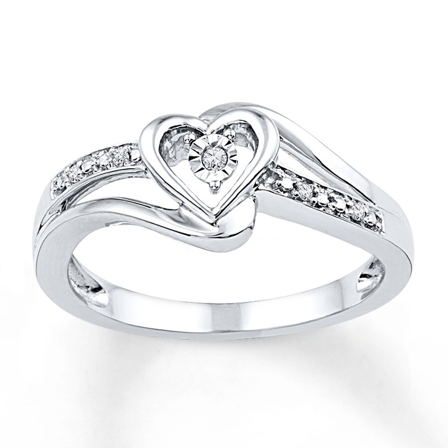 Jared Heart Promise Ring Diamond Accents Sterling Silver