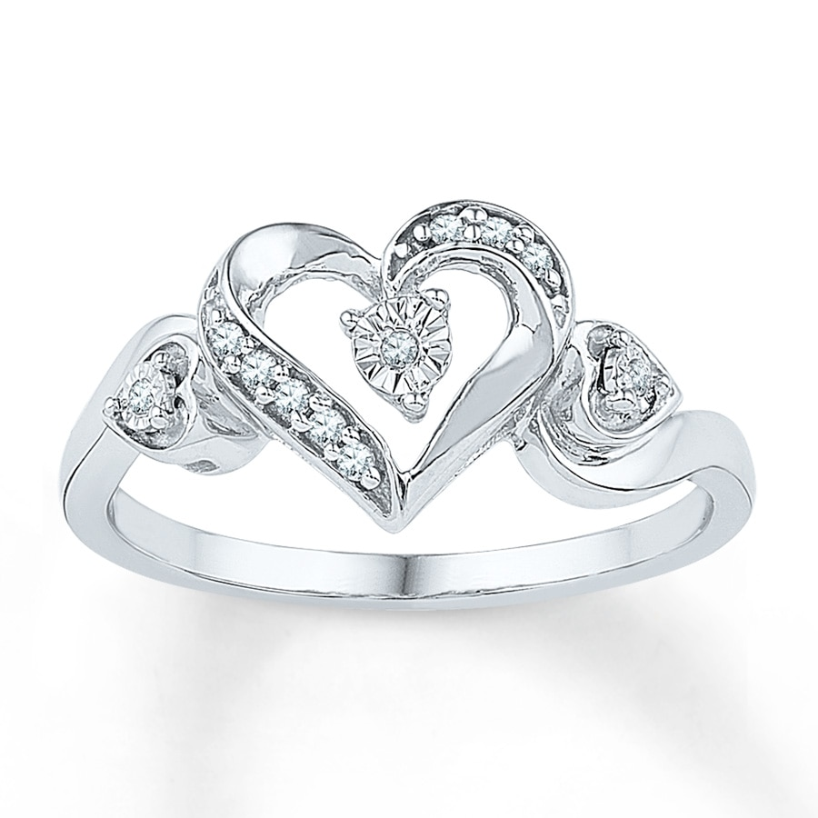 Jared Diamond Heart Ring 120 ct tw Roundcut Sterling Silver