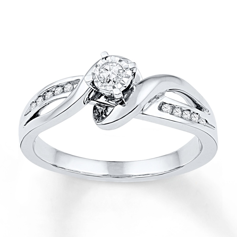 diamond promise ring 1  8 ct tw round-cut sterling silver - 2341460099