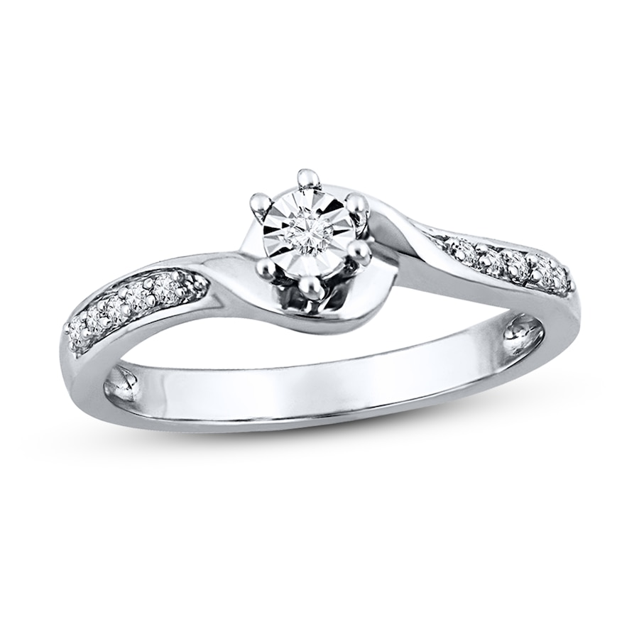 Jared Diamond Promise Ring 1 15 ct tw Round cut Sterling Silver