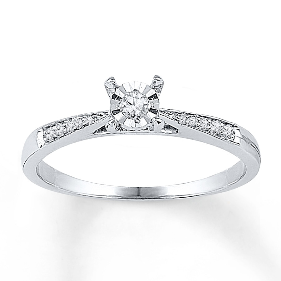 Diamond Promise Ring 1/10 Ct Tw Round-cut 10K White Gold
