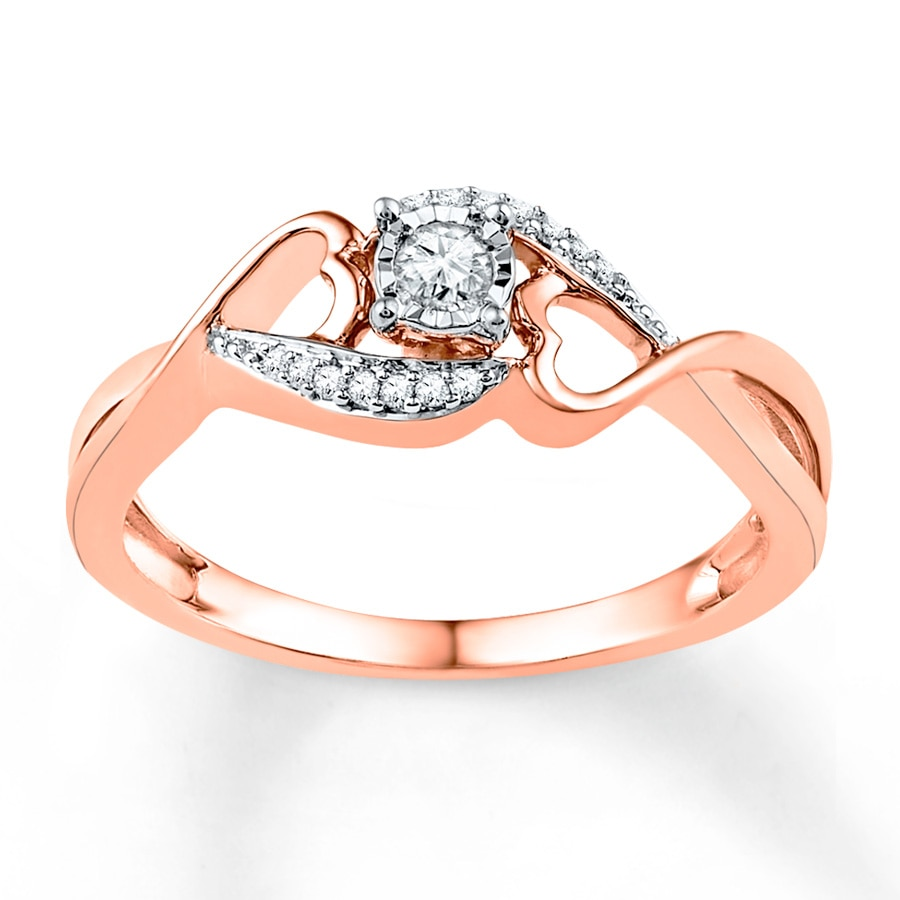 Jared Diamond Promise Ring 1 8 ct tw Round cut 10K Rose Gold