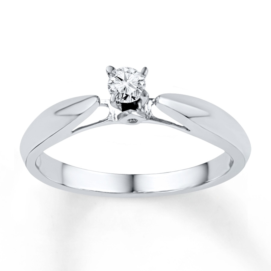 Jared Diamond Promise Ring 1 8 ct tw Round cut Sterling Silver