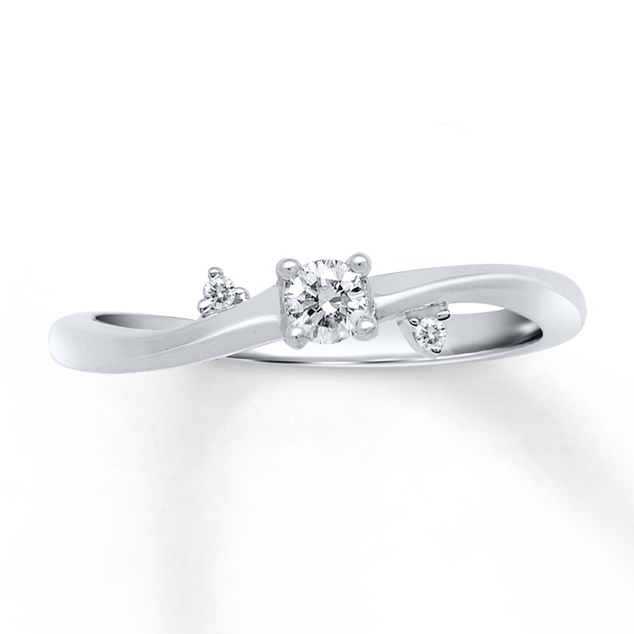 Jared Diamond Promise Ring 1 8 ct tw Round cut 10K White Gold