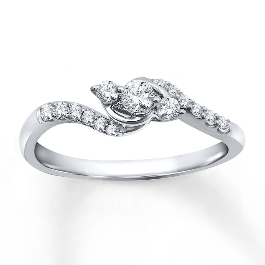 Jared Diamond Promise Ring 1 4 ct tw Round cut 10K White Gold