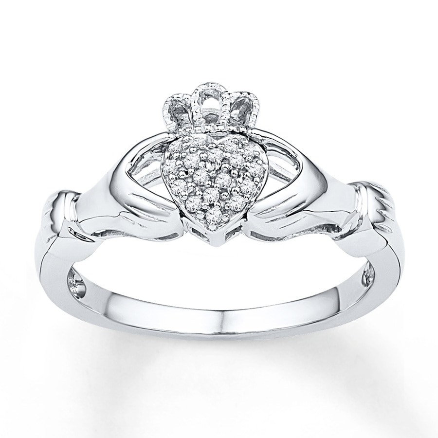 jared claddagh ring 1 15 ct tw diamonds sterling silver