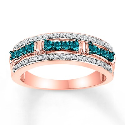 Jared Blue White Diamonds 1/2 ct tw Round-cut 10K Rose Gold Ring- Fashion