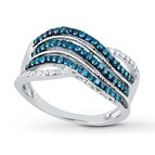 Blue Diamond Ring 1/2 ct tw Round-cut 10K White Gold