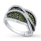 Green & White Diamonds 1 1/2 carats tw Sterling Silver Ring