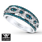LeVian Diamond Ring 3/4 ct tw Blue/White 14K Vanilla Gold