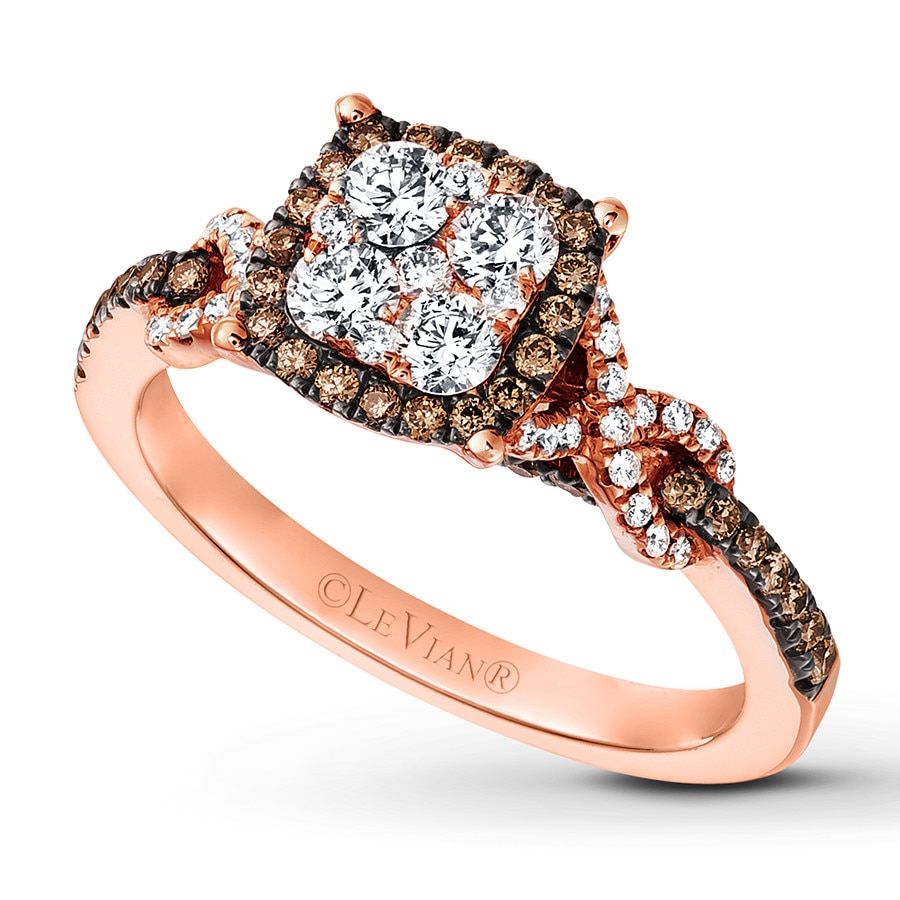Jared Le Vian Chocolate Diamond Ring 1 carat tw 14K Strawberry Gold