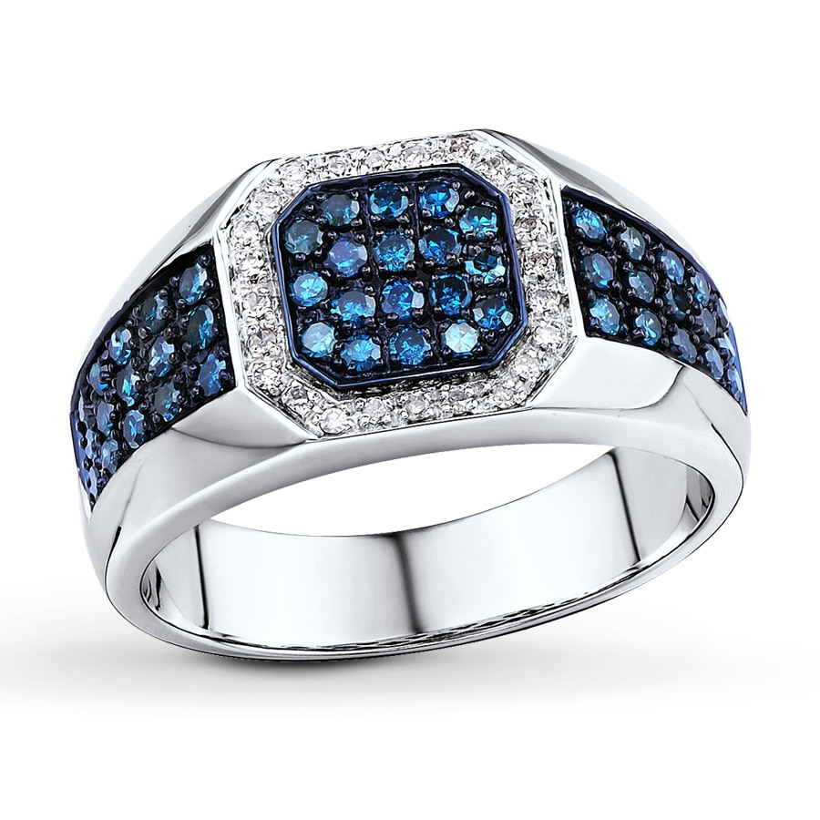 Jared blue white diamonds 3 4 ct tw men39s ring 10k white for Mens wedding ring with blue diamonds