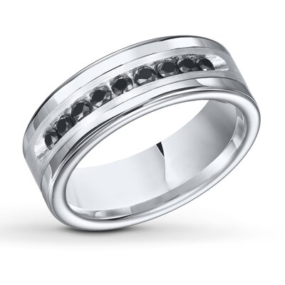 8mm Triton Wedding Band 1/2 cttw Black Diamond Tungsten Carbide