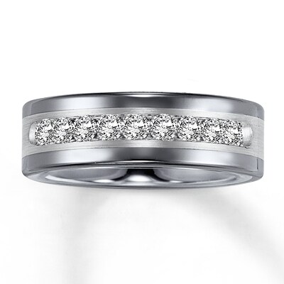 8mm Triton Wedding Band 1 ct tw Diamonds Tungsten Carbide