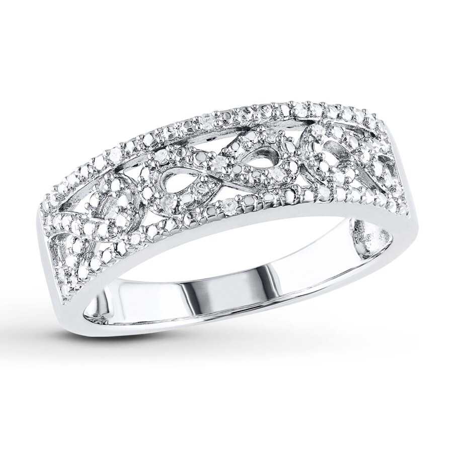 Infinity Symbol Ring 110 Ct Tw Diamonds Sterling Silver