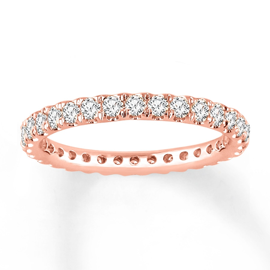 rose wedding gold bands eternity in diamond ct tw band