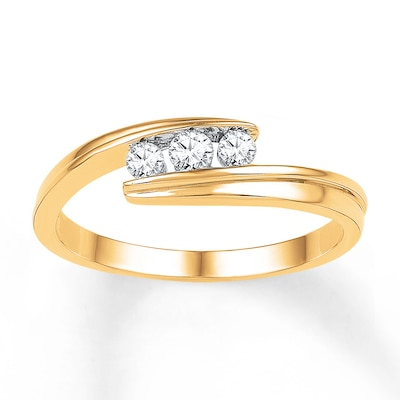 3-Stone Diamond Ring 1/4 ct tw Round-cut 10K Yellow Gold