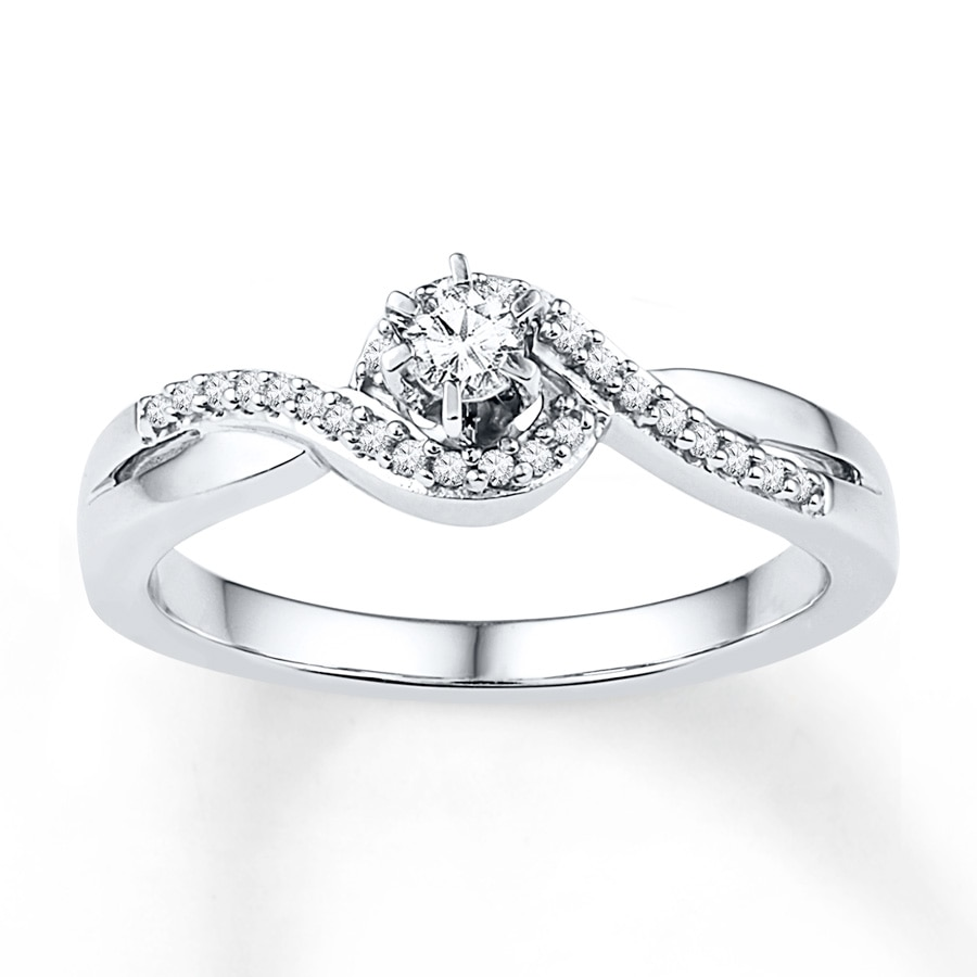 Jared Diamond Promise Ring 1 5 ct tw Round cut 10K White Gold