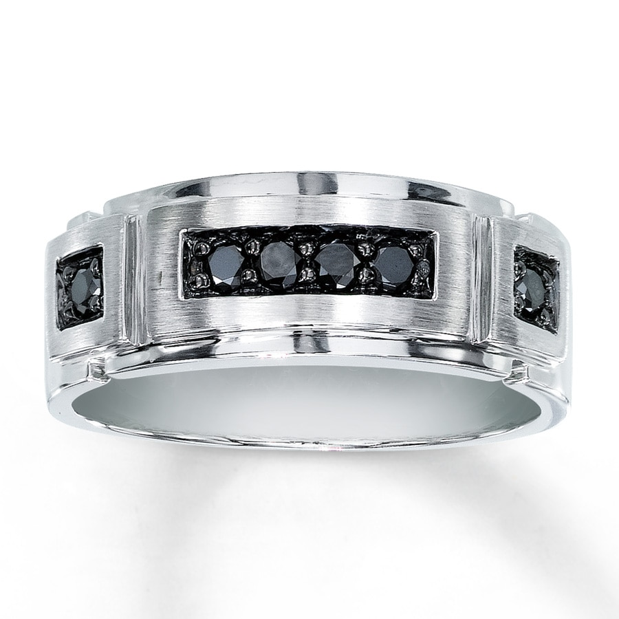 Mens Wedding Bands White Gold Black Diamonds The Hippe